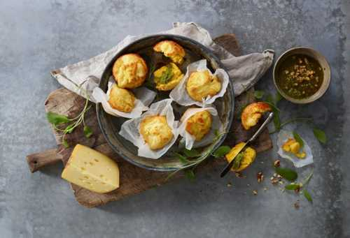 Corn Muffins Filled with Jarlsberg® and Nut Pesto